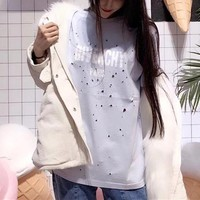 """""""Givenchy"""" Women Casual Fashion Personality Ripped Letter Print Short Sleeve Cotton T-shirt Top Tee"""