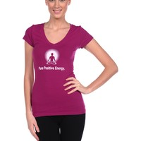 Positive Thought Brand Pure Positive Energy V-Neck Tee in Purple