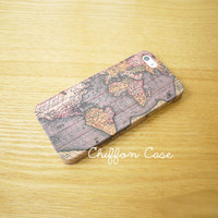 World Map iPhone 5 Case , iPhone 5s Case, iPhone 5 Cover, Unique Apple iPhone Case, Cute iPhone 5 Cases - Retro Antique Old Map