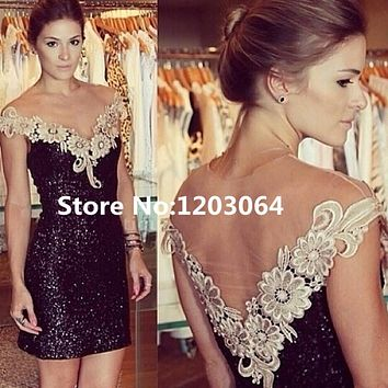 Caftan 2016 New Arrival Bling Bling Mermaid Dress Short Prom Dresses Party Gown Sexy Scoop Neck Sequin Mini Cocktail Dress