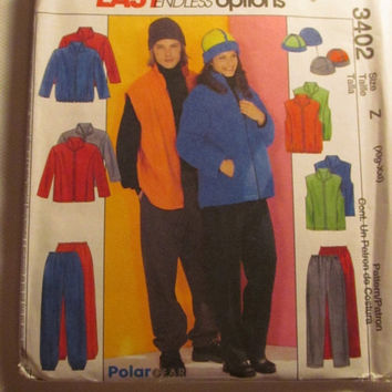 SALE Uncut McCall's Sewing Pattern, 3402! XLG/XXL/Men's/Women's/Teens/Fleece Jackets/Pants/Pull On Pants/Winter Caps/Hats/Stand Up collar/Ve