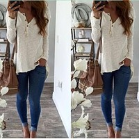 2017 New Fashion Women Blouse Burst Pure Color Sexy Slim Base Shirt Small V-neck Button Long Sleeve Casual Shirts HO934745