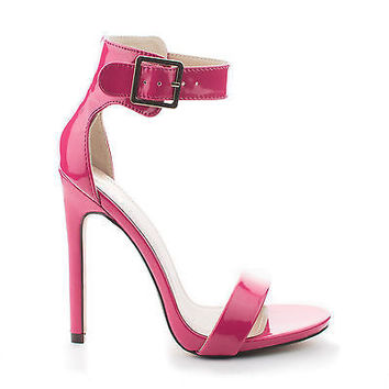 Canter Hot Pink Patent Women's Single Sole Ankle Strap High Heels