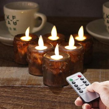 6/12pcs Remote Ready Primitive Battery Operated Flameless Tea Lights