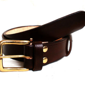 "Men leather belt, 1.5"" wide, brown, solid brass buckle, womens leather belt, brown leather belt"