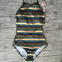 Stripe One Piece Swimsuit Bathing Suits Sexy Bodysuit