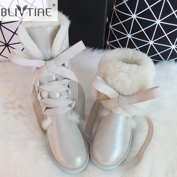 BLIVTIAE/Luxury Winter Australia Knee -high  Sheepskin Snow Boots Natural Wool Sheep Fur Boots Sweet Bow Flat Women  Long Boots