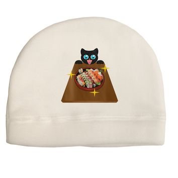 Anime Cat Loves Sushi Child Fleece Beanie Cap Hat by TooLoud