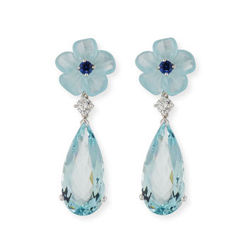 Rina Limor Aquamarine Flower Earrings with Diamonds