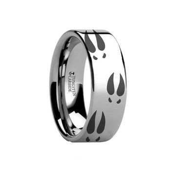 Deer Hoof Print Animal Tracks Engraved Tungsten Ring