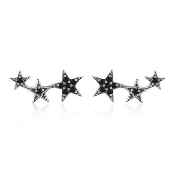 STYLEDOME 925 Sterling Silver Sparkling CZ Exquisite Stackable Star Stud Earrings