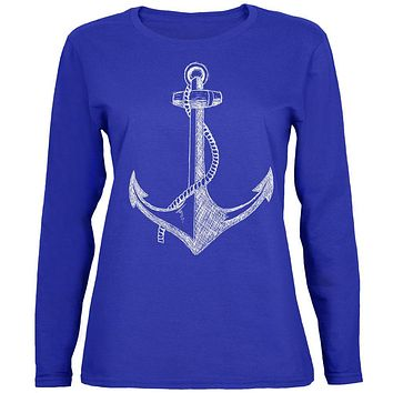 Summer Anchor Womens Long Sleeve T Shirt