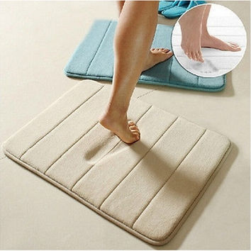 Hot Selling Memory Foam Bath Mats Bathroom Horizontal Stripes Rug Non-slip Bath = 1705968772