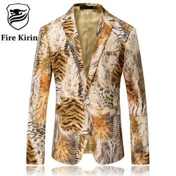 Men Blazer Tiger Pattern Men Printed Blazer Latest Coat Design Velvet Suit Jacket Casual Blazers Stage Wear
