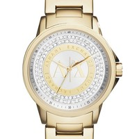 Women's AX Armani Exchange Crystal Dial Bracelet Watch, 35mm - Gold