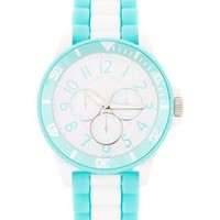 New Look Mobile | Pale Blue and White Stripe Sports Watch