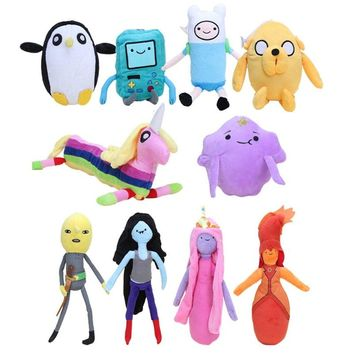10styles American Cartoons Adventure Time Plush Toy Finn Lumpy Space Princess LemongrabLady Rainicorn Plush Stuffed Doll Toys