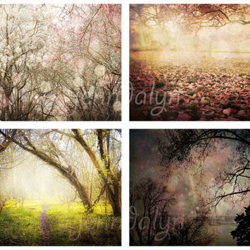 A Springtime Fairy Tale - FOUR PHOTO Set, photography gift set, spring photography, nature photography, nursery decor