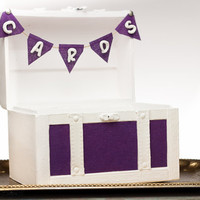 Purple Wedding Chest Gift Card box Holder - Eggplant Baby Shower - Home Dorm Decor Trunk - Cards Banner