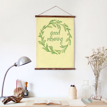 """Good Morning Wall Art--Beautiful modern calligraphy--Watercolored floral wreath --Printable Decor--DIY--Watercolor painting 8.5""""x11"""""""