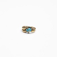 Rila Womens Single Stone Lava Ring - Brass 5.5
