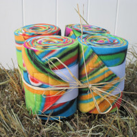 Set of 4 Polo Wraps for Horses- Colorful Psychedelic Print Fleece