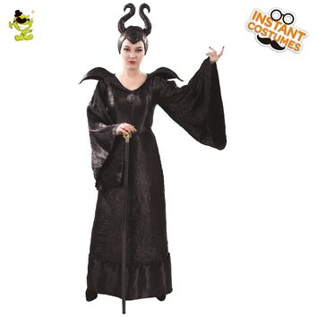 Malleficent Costume Halloween Carnival Party Hot Movie Character Dark Magic Women Cosplay Fancy Dress Adult Pretty Witch Cosplay