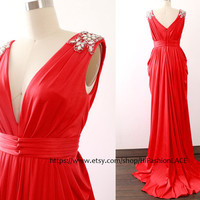 Evening Gown, Sheath Red Prom Dresses, Deep V Neck Jersey Long Prom Gown , Jersey Formal Dresses, Wedding Party Dress, Plus Size Custom