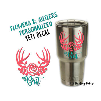 Personalized Floral Antler Decal Yeti Tumbler Decals | Girly Yetis | 12 colors to pick from!