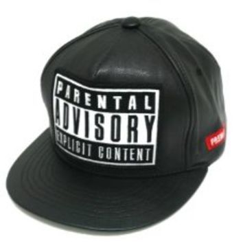 Black Leather Parental Advisory Explicit Content Snapback Hat Cap