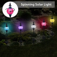 Solario Crackle Ball Solar Lights with Spinning Ball & Decorative Copper Top | Heavy Duty Stainless Steel Stakes | Color Changing Stake Lamps | Accent Lighting for Garden/ Yard/ Driveway (3 Pack)