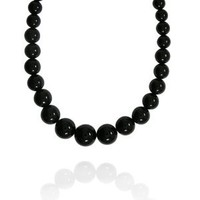 """6-16mm Round Black Onyx Graduated Bead Necklace, 16+2""""Extender"""