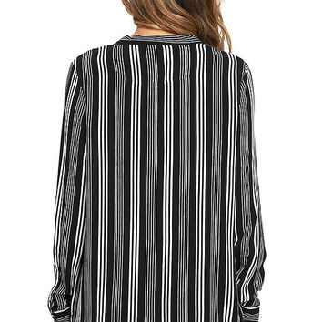 Fashion Influencer Black Striped Long Sleeve Top