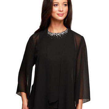 Alex Evenings Three Quarter Beaded Sheer Blouse