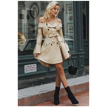 SABRINA Sexy Off Shoulder Double Breasted Trench Coat