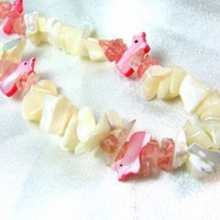 Pink Doves and White Mother Of Pearl Gemstone Necklace