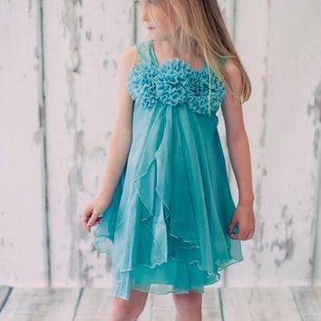 Shimmering Teal Chiffon Occasion Dress with 2 Tier Layers & Chiffon Flowers (Girls Sizes 2T - 14)
