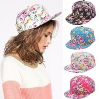 Fashion Floral Flower Snapback Hip-Hop Hat Flat Peaked Adjustable Baseball Cap W_C