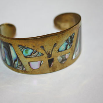 Vintage Cuff Bracelet Mexico Abalone Butterfly 1960s Jewelry