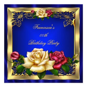 Royal Blue Red Cream Roses Gold Birthday Party 5.25x5.25 Square Paper Invitation Card