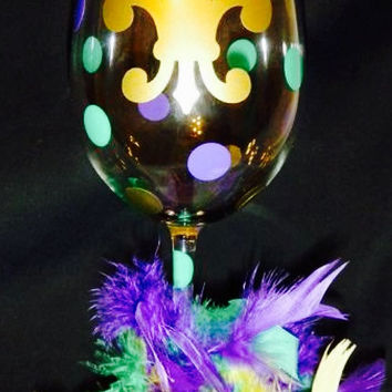 Mardi Gras Decorative Wine Glass