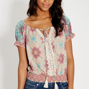 patterned off the shoulder peasant top | maurices