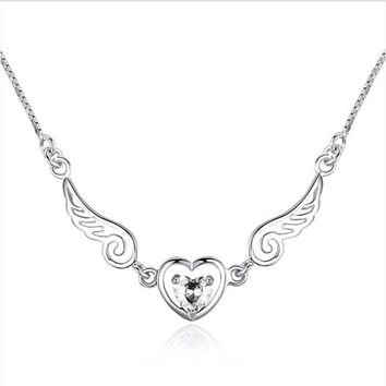 Angel Wings with Heart Stone Necklace