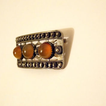 Vintage Sterling Silver, Russian Amber sterling Brooch, silver brooch, Amber brooch, sterling brooch, russian amber, USSR, Gift, For her,
