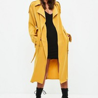 Missguided - Yellow Bonded Crepe Trench Coat