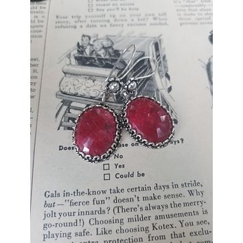 Sterling silver faceted Ruby red drop earrings signed DGS Turkey 925