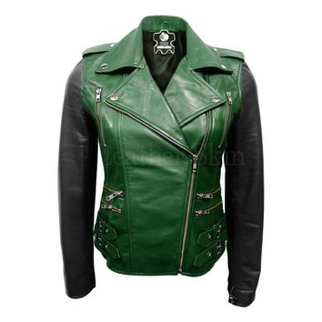 Women Green Genuine Leather Jacket