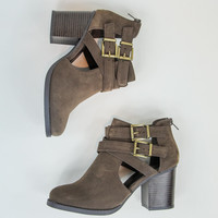 Buckle Booties in Brown