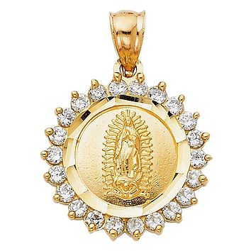 Virgin Mary Medallion Pendant - 14K Solid Yellow Gold