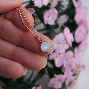 Tiny Moonstone Necklace